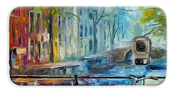 Town Galaxy S6 Case - Bicycle In Amsterdam by Leonid Afremov