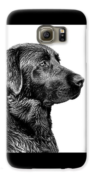 Dog Galaxy S6 Case - Black Labrador Retriever Dog Monochrome by Jennie Marie Schell