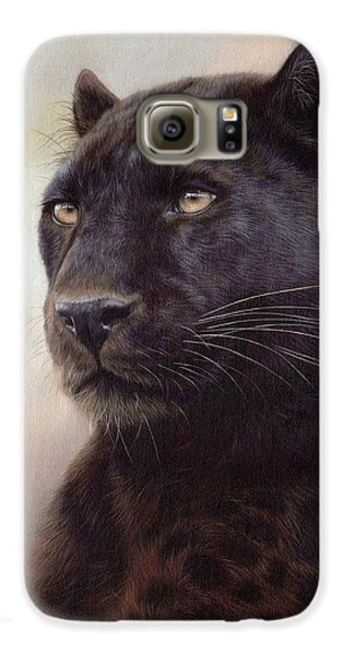 Black Leopard Painting Galaxy S6 Case by Rachel Stribbling