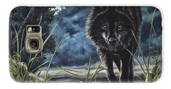 Black Wolf Hunting Galaxy S6 Case by Lucie Bilodeau