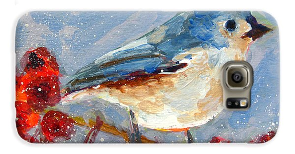 Titmouse Galaxy S6 Case - Blue Bird In Winter - Tuft Titmouse Modern Impressionist Art by Patricia Awapara