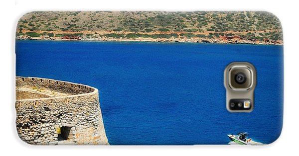 Blue Galaxy S6 Case - Blue Ocean And A Boat In Greece by Matthias Hauser