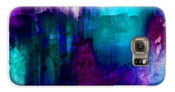 Blue Rain  Abstract Art   Galaxy S6 Case by Ann Powell