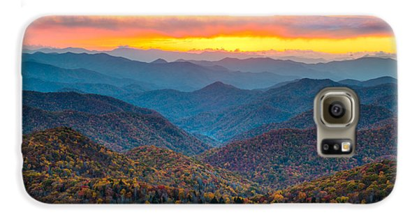 Mountain Sunset Galaxy S6 Case - Blue Ridge Parkway Fall Sunset Landscape - Autumn Glory by Dave Allen