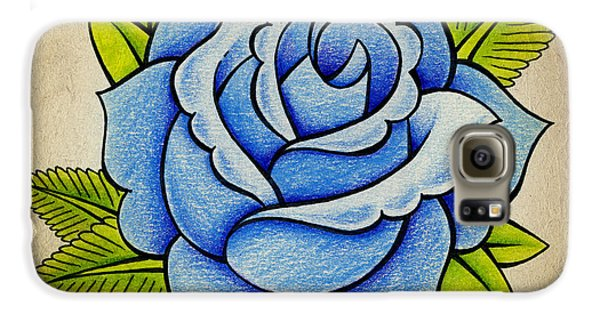 Rose Galaxy S6 Case - Blue Rose by Samuel Whitton