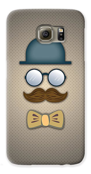 Blue Top Hat Moustache Glasses And Bow Tie Galaxy S6 Case by Ym Chin