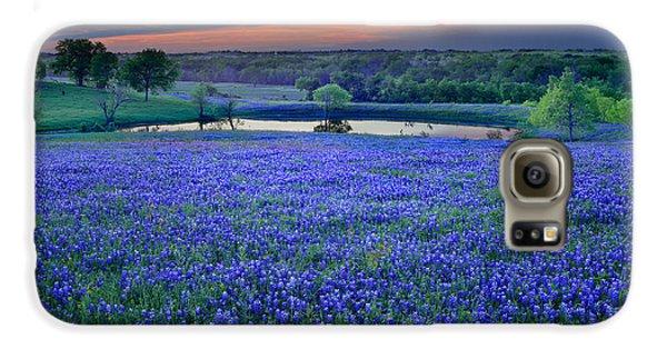 Bluebonnet Lake Vista Texas Sunset - Wildflowers Landscape Flowers Pond Galaxy S6 Case