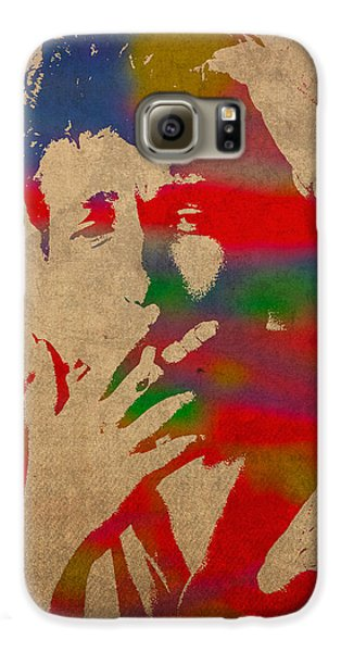 Bob Dylan Watercolor Portrait On Worn Distressed Canvas Galaxy S6 Case by Design Turnpike