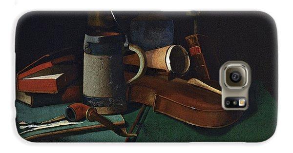 Violin Galaxy S6 Case - Books Mug Pipe And Violin by John Frederick Peto