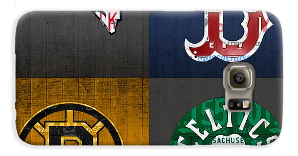Boston Sports Fan Recycled Vintage Massachusetts License Plate Art Patriots Red Sox Bruins Celtics Galaxy S6 Case
