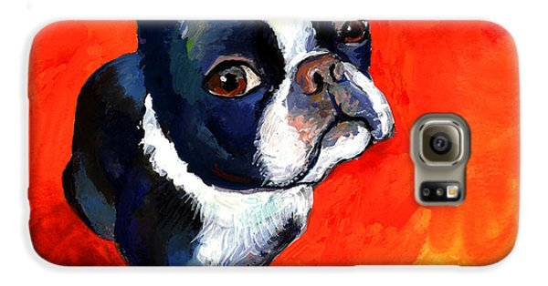 Boston Terrier Dog Painting Prints Galaxy S6 Case