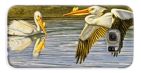 Pelican Galaxy S6 Case - Breeding Season- White Pelicans by Paul Krapf