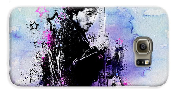Bruce Springsteen Splats And Guitar 2 Galaxy S6 Case by Bekim Art