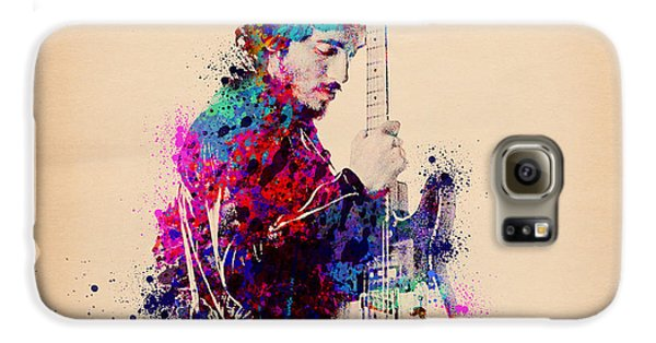 Rock And Roll Galaxy S6 Case - Bruce Springsteen Splats And Guitar by Bekim Art