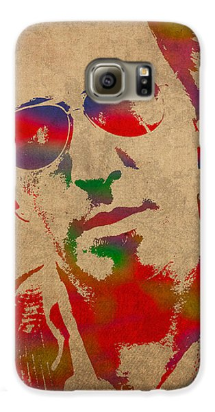 Musician Galaxy S6 Case - Bruce Springsteen Watercolor Portrait On Worn Distressed Canvas by Design Turnpike