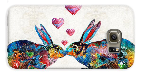 Bunny Rabbit Art - Hopped Up On Love - By Sharon Cummings Galaxy S6 Case by Sharon Cummings