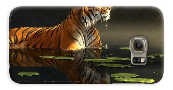 Tiger Galaxy S6 Case - Butterfly Contemplation by Aaron Blaise