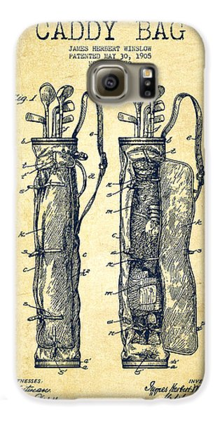 Golf Galaxy S6 Case - Caddy Bag Patent Drawing From 1905 - Vintage by Aged Pixel