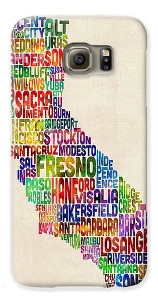 California Typography Text Map Galaxy S6 Case by Michael Tompsett