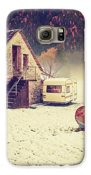 Caravan In The Snow With House And Wood Galaxy S6 Case by Silvia Ganora