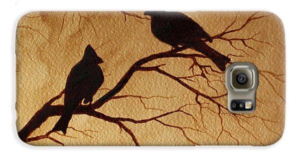 Galaxy S6 Case featuring the painting Cardinals Silhouettes Coffee Painting by Georgeta  Blanaru
