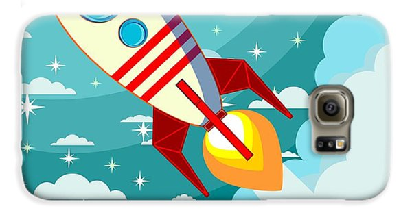 Outer Space Galaxy S6 Case - Cartoon Rocket Taking Off Against The by Alekseiveprev
