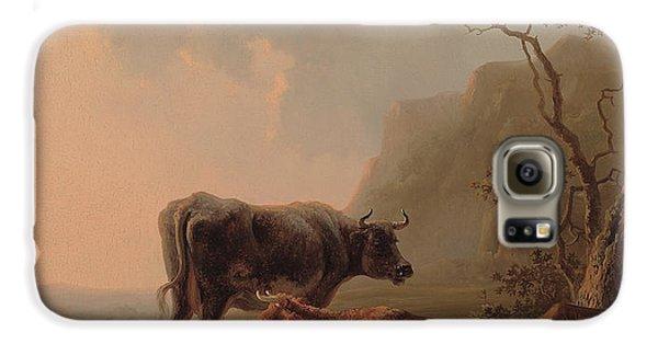 Cow Galaxy S6 Case - Cattle In An Italianate Landscape by Jacob van Strij