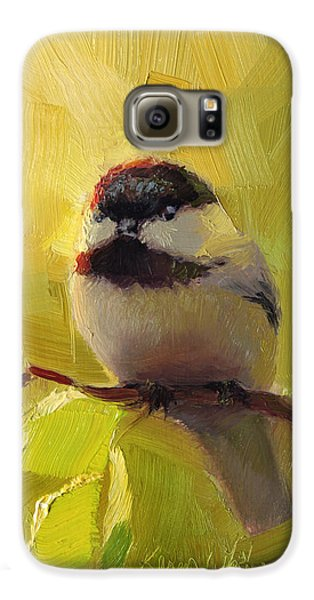 Chickadee Galaxy S6 Case - Chatty Chickadee - Cheeky Bird by Karen Whitworth