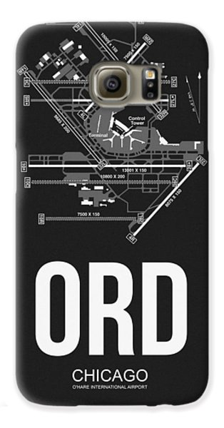 Chicago Airport Poster Galaxy S6 Case by Naxart Studio