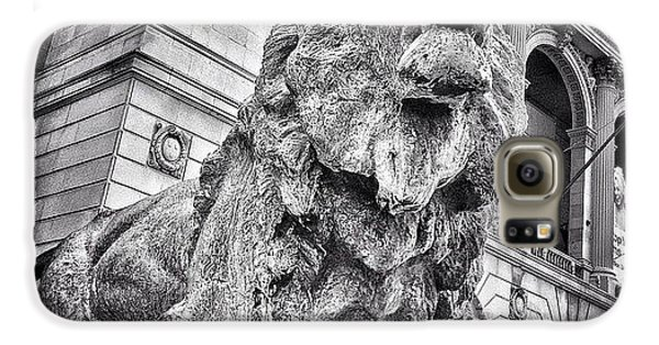 City Galaxy S6 Case - Lion Statue At Art Institute Of Chicago by Paul Velgos