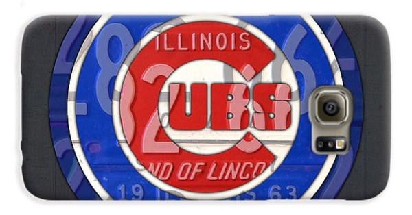 Chicago Cubs Baseball Team Retro Vintage Logo License Plate Art Galaxy S6 Case by Design Turnpike