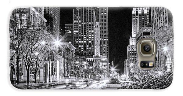 Chicago Michigan Avenue Light Streak Black And White Galaxy S6 Case