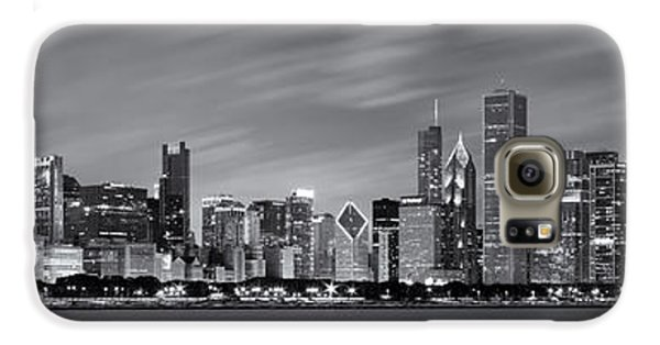 Chicago Skyline At Night Black And White Panoramic Galaxy S6 Case by Adam Romanowicz