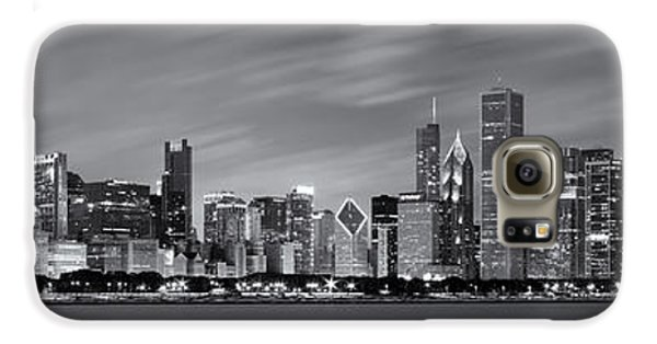 Chicago Skyline At Night Black And White Panoramic Galaxy S6 Case