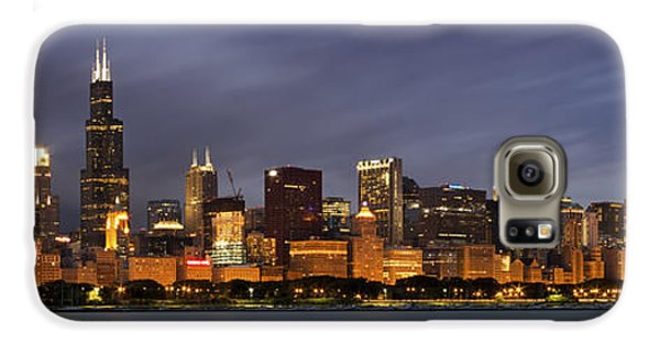 Chicago Skyline At Night Color Panoramic Galaxy S6 Case