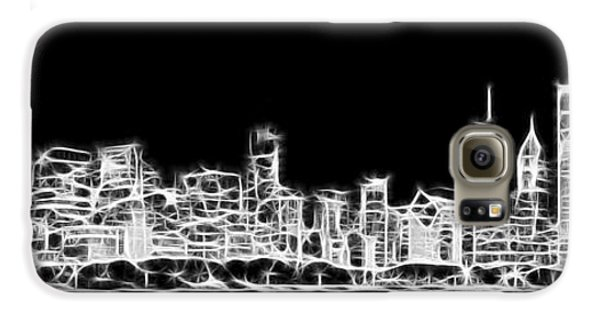 Chicago Skyline Fractal Black And White Galaxy S6 Case by Adam Romanowicz