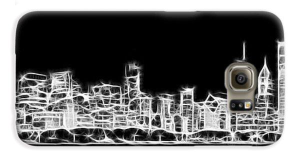 Chicago Skyline Fractal Black And White Galaxy S6 Case