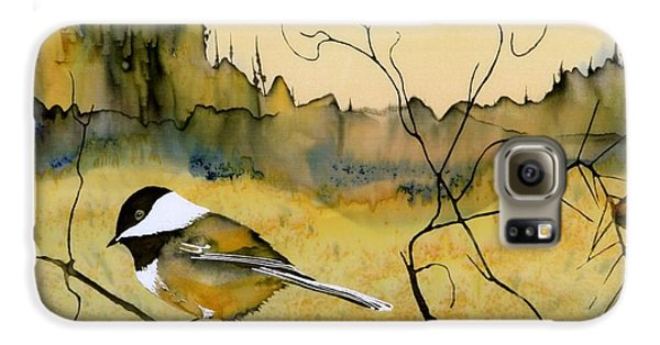 Chickadee In Dancing Pine Galaxy S6 Case by Carolyn Doe