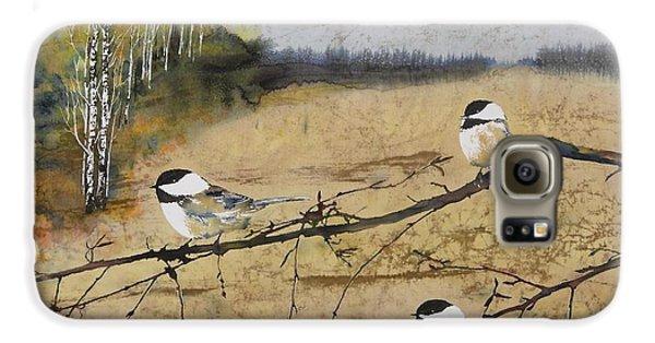 Chickadee Galaxy S6 Case - Chickadees And A Row Of Birch Trees by Carolyn Doe
