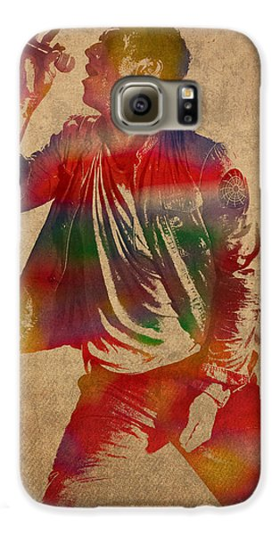 Chris Martin Coldplay Watercolor Portrait On Worn Distressed Canvas Galaxy S6 Case by Design Turnpike