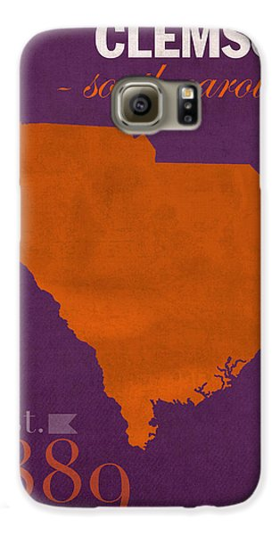 Clemson University Tigers College Town South Carolina State Map Poster Series No 030 Galaxy S6 Case by Design Turnpike