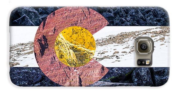 Castle Galaxy S6 Case - Colorado State Flag With Mountain Textures by Aaron Spong