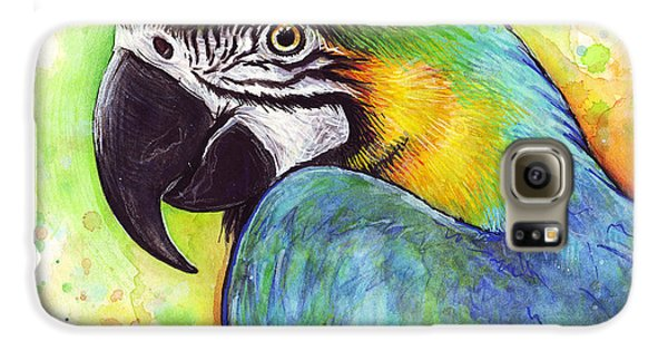 Macaw Watercolor Galaxy S6 Case by Olga Shvartsur