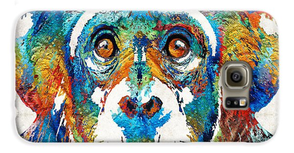Colorful Chimp Art - Monkey Business - By Sharon Cummings Galaxy S6 Case by Sharon Cummings