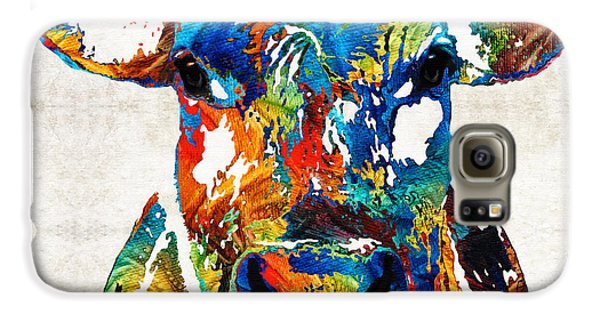 Bull Galaxy S6 Case - Colorful Cow Art - Mootown - By Sharon Cummings by Sharon Cummings