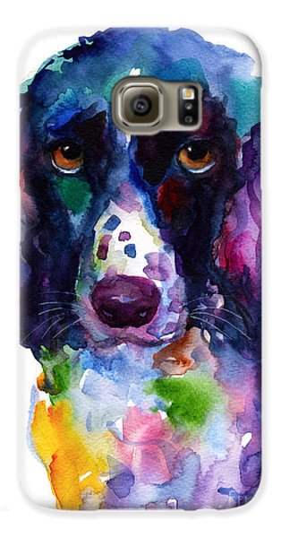Colorful English Springer Setter Spaniel Dog Portrait Art Galaxy S6 Case by Svetlana Novikova