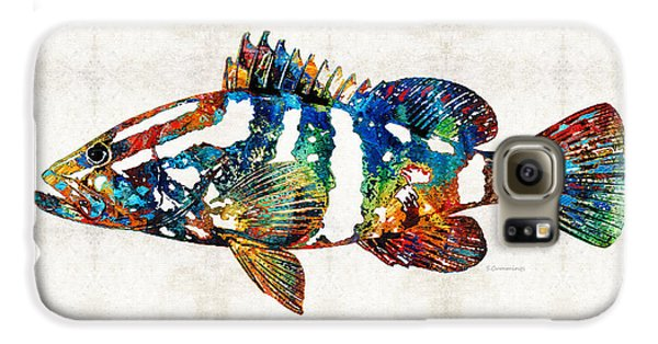 Colorful Grouper 2 Art Fish By Sharon Cummings Galaxy S6 Case by Sharon Cummings