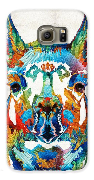 Colorful Llama Art - The Prince - By Sharon Cummings Galaxy S6 Case by Sharon Cummings