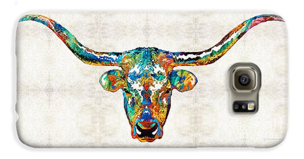 Colorful Longhorn Art By Sharon Cummings Galaxy S6 Case