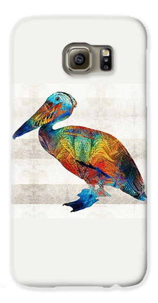 Colorful Pelican Art By Sharon Cummings Galaxy S6 Case